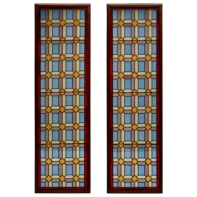 One of Two Multicolored Stained Glass Windows Panels For Sale