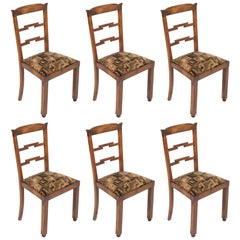 1920s Set of Six Chairs Art Deco by Osvaldo Borsani Original Futurist Upholstery