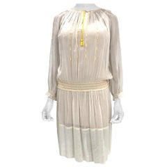 1920S Sheer Cotton Boho Folk Dress With Yellow Hand Embroidery & Smocking