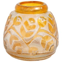 1920s Signed Daum Vase with Etched Orange Overlay