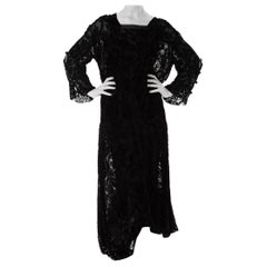 1920S Black Floral Silk Burnout Velvet Long Sleeve Sheer Dress