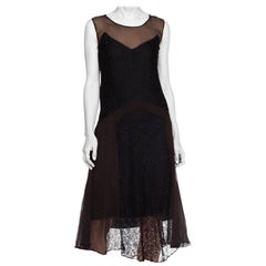 1920S Black Silk Chiffon & Lace Art Deco Flapper  Cocktail Dress
