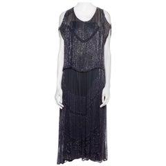 1920S Sapphire Blue  Beaded Silk Chiffon Cocktail Dress