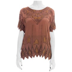 1920S Silk Crepe De Chine Deco Beaded & Embroidered Top