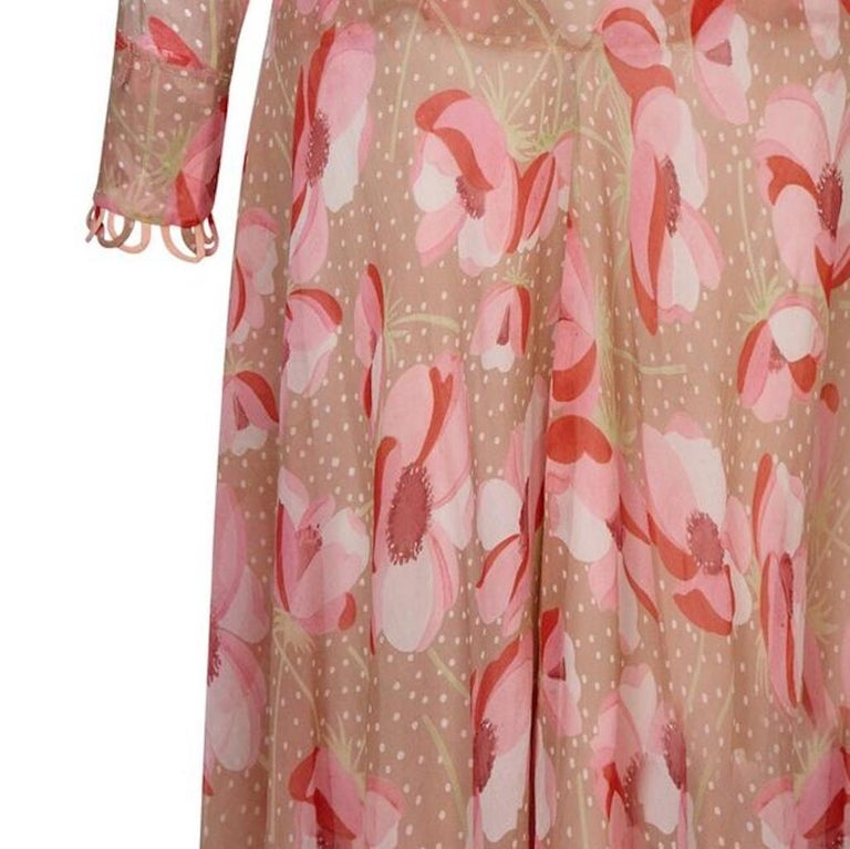 Women's 1920s Silk Chiffon Dress With Pink Floral Print For Sale