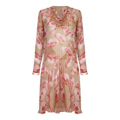 1920s Silk Chiffon Dress With Pink Floral Print