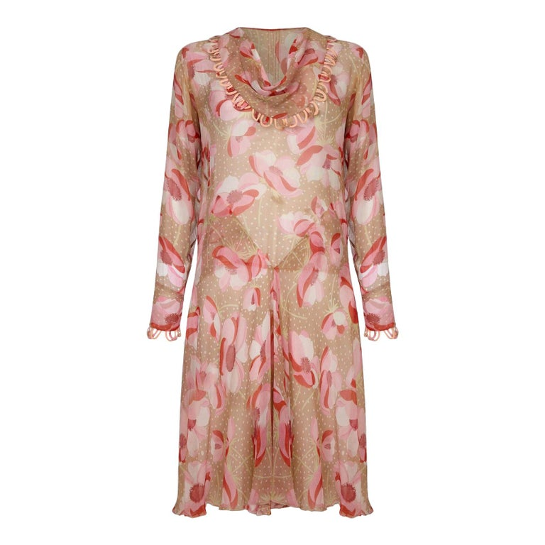 1920s Silk Chiffon Dress With Pink Floral Print For Sale