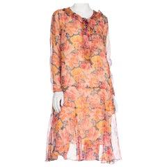 1920S Silk Chiffon Long Sleeve Tropical Floral Drop Waist Dress