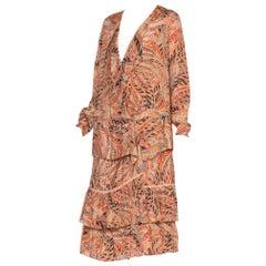 1920's Silk Ruffled Dress With Rare Pheasant Bird Feather Print
