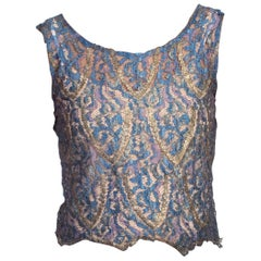 1920's Silk + Silver Lame Lace Top