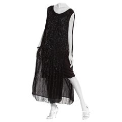 1920'S  Black Silk Fully Beaded Tabard Dress