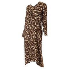 1920S Silk Two-Tone Floral Printed Long Sleeve Dress