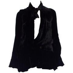 1920S Black Silk Velvet Drop-Waist Jacket Lined In Cream Satin