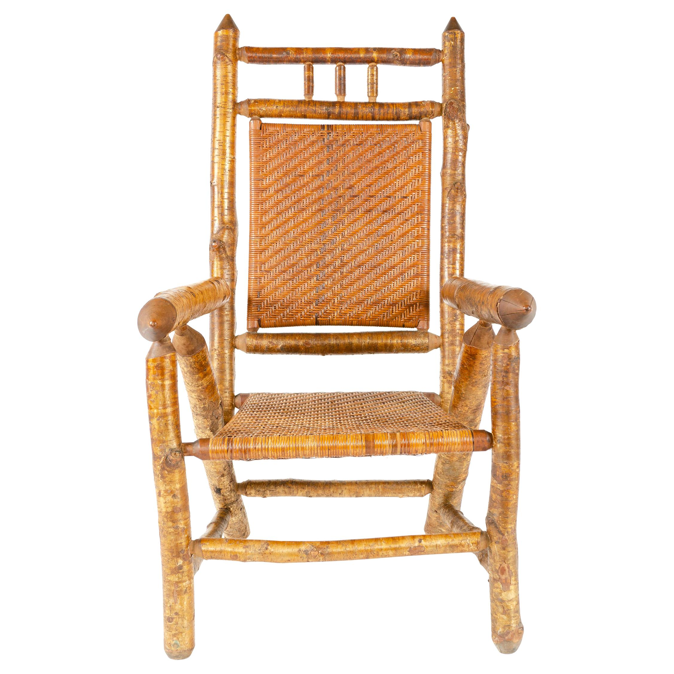 1920s Silver Birch Armchair by H.C. Dexter Chair Company