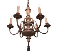 1920s Silver Plated Brass Six-Arm Chandelier with a Tassel Finial