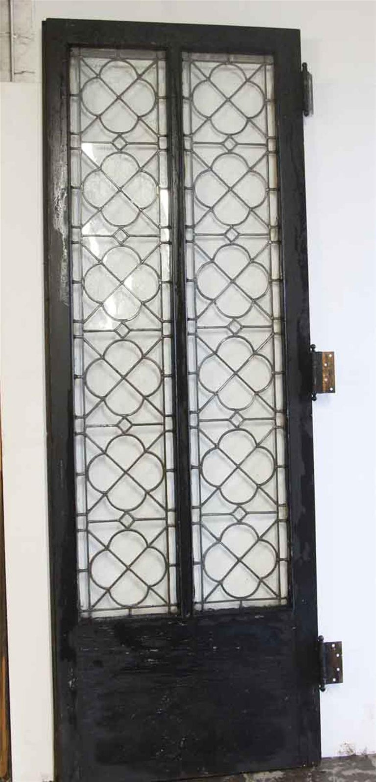 20th Century 1920s Single Oak Door with Gothic Leaded Quatrefoil Glass For Sale