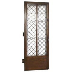 1920s Single Oak Door with Gothic Leaded Quatrefoil Glass