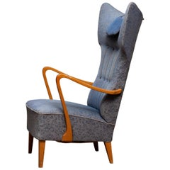 1920s, Slim Art Nouveau Swedish Wingback Chair in Oak with Extra High Backrest