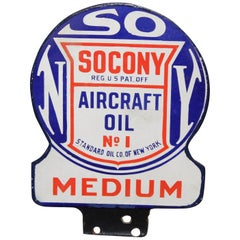 "1920s Socony Standard of Ny  ""Aircraft Oil"" Paddle Sign"