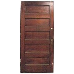 1920s Solid Core Five Panel Walnut Privacy Door