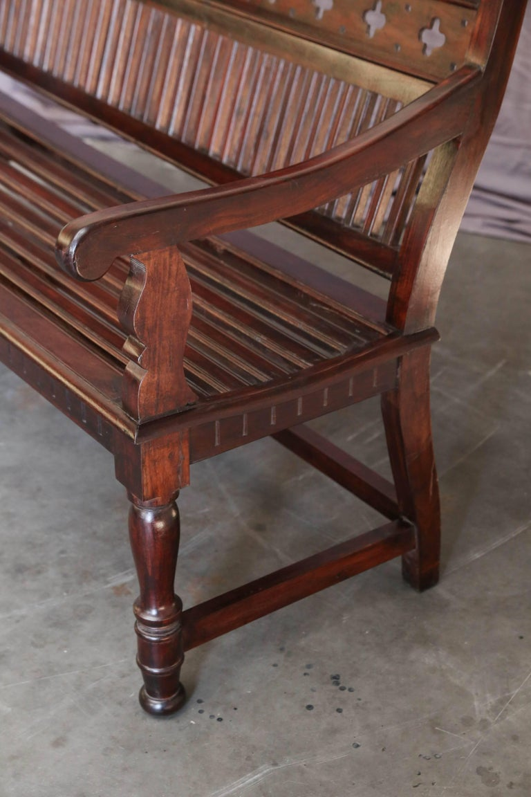 Anglo Raj 1920s Solid Mahogany Wood Contoured Bench from a Bishop's Mansion For Sale