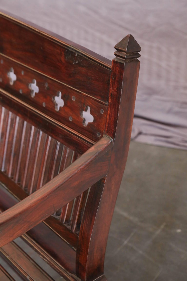 Indian 1920s Solid Mahogany Wood Contoured Bench from a Bishop's Mansion For Sale