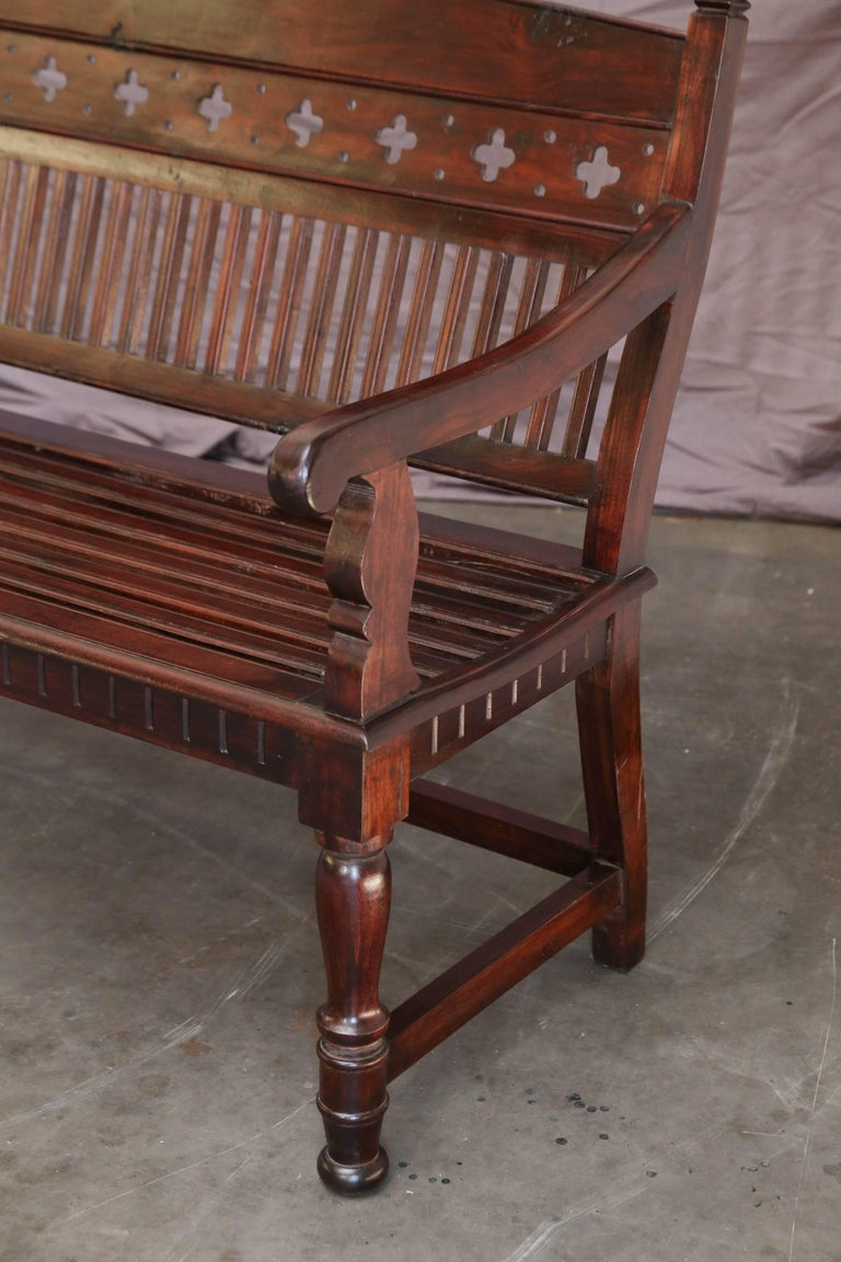 Hand-Crafted 1920s Solid Mahogany Wood Contoured Bench from a Bishop's Mansion For Sale