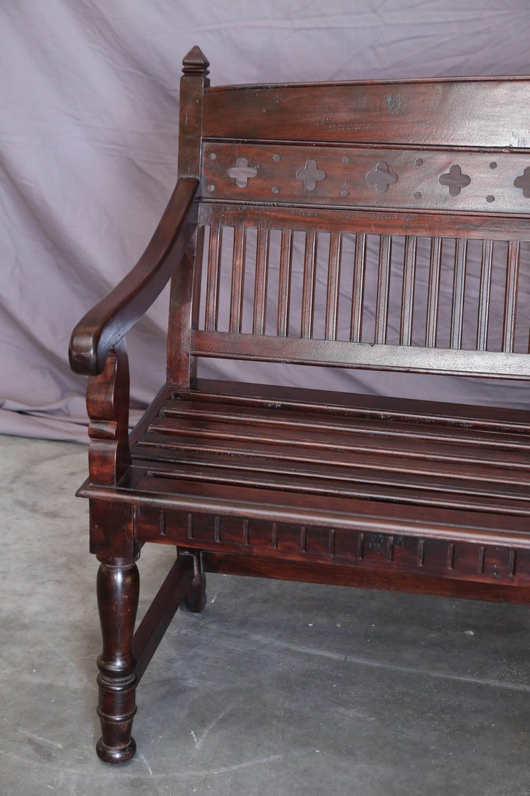 1920s Solid Mahogany Wood Contoured Bench from a Bishop's Mansion In Excellent Condition For Sale In Houston, TX