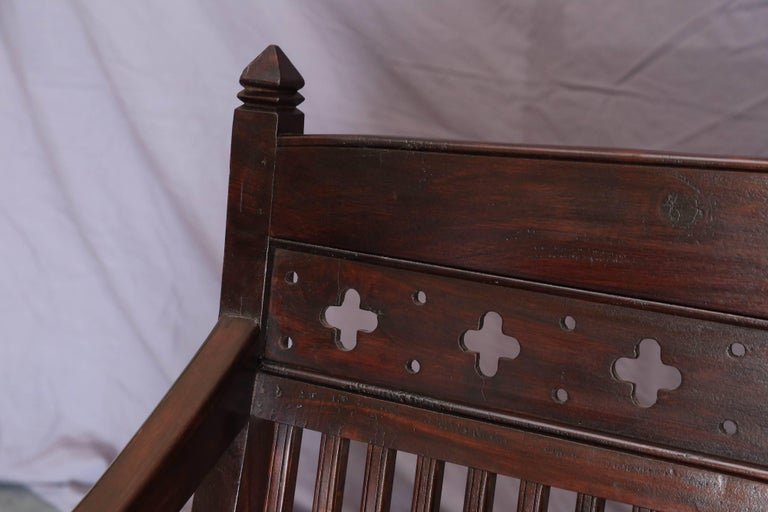 1920s Solid Mahogany Wood Contoured Bench from a Bishop's Mansion For Sale 1