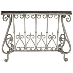1920s Solid Teak Wood and Hand Forged Wrought Iron French Colonial Console Table