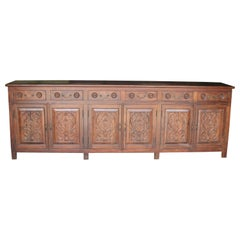 1920s Solid Teak Wood Dinning Hall Credenza from a Colonial Era Mansion