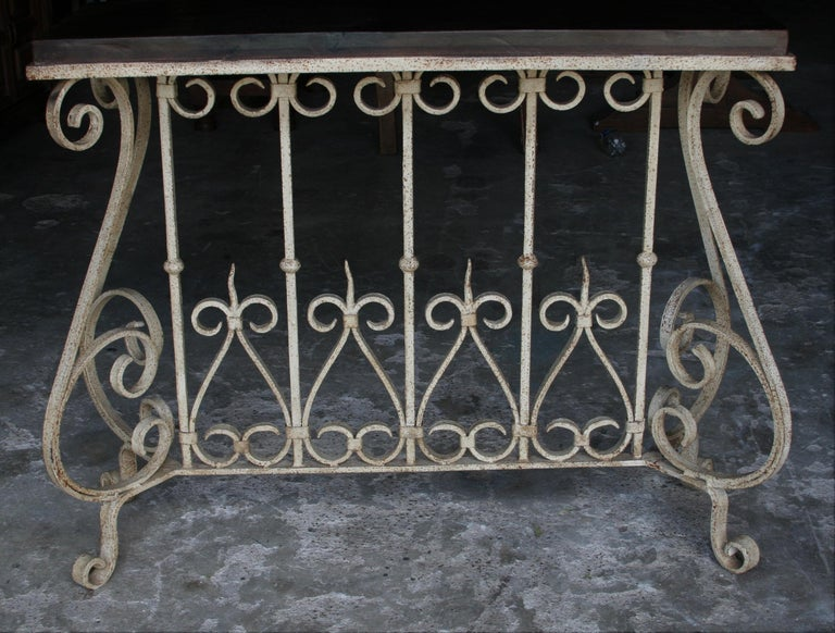 Awesome 1920S Solid Teak Wood And Hand Forged Wrought Iron French Colonial Console Table Andrewgaddart Wooden Chair Designs For Living Room Andrewgaddartcom