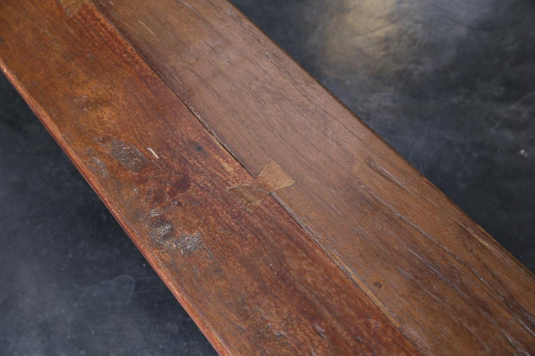 Early 20th Century 1920's Solid Teak Wood Handcrafted Dutch Colonial Farm Bench For Sale