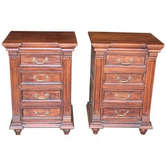 1920s Solid Teak Wood Superbly Crafted Elegant British Colonial Night Stands
