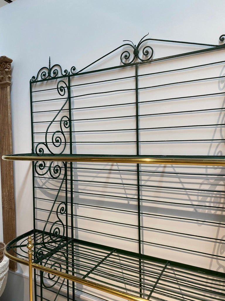 1920s Spanish Bronze and Iron Three Shelf Bakers Rack In Good Condition For Sale In Malaga, ES