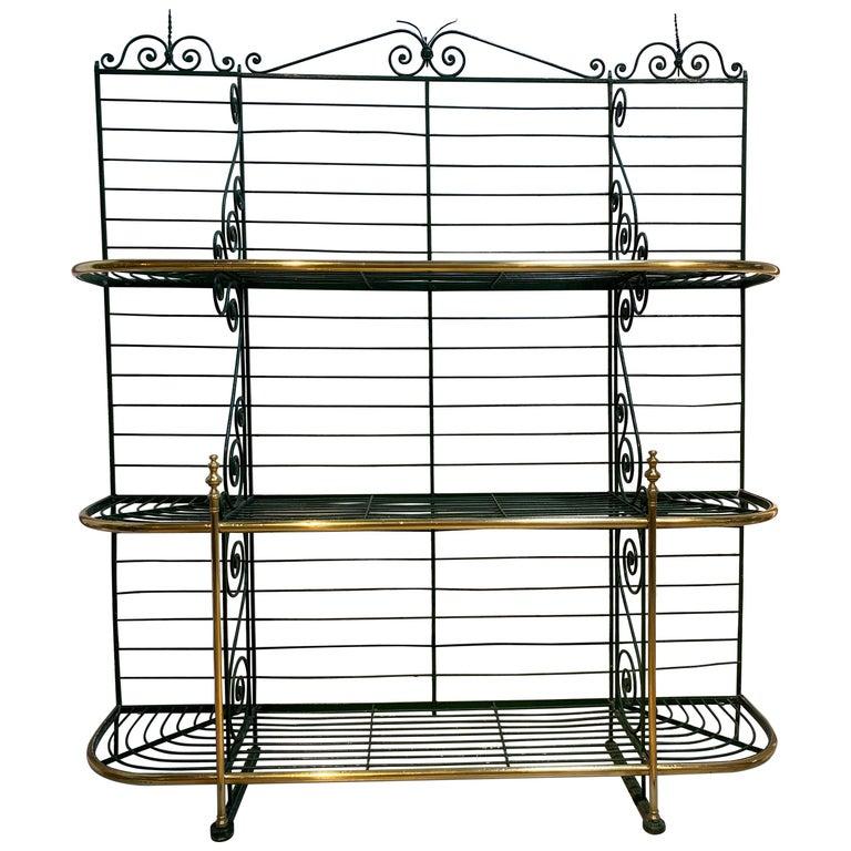 1920s Spanish Bronze and Iron Three Shelf Bakers Rack For Sale