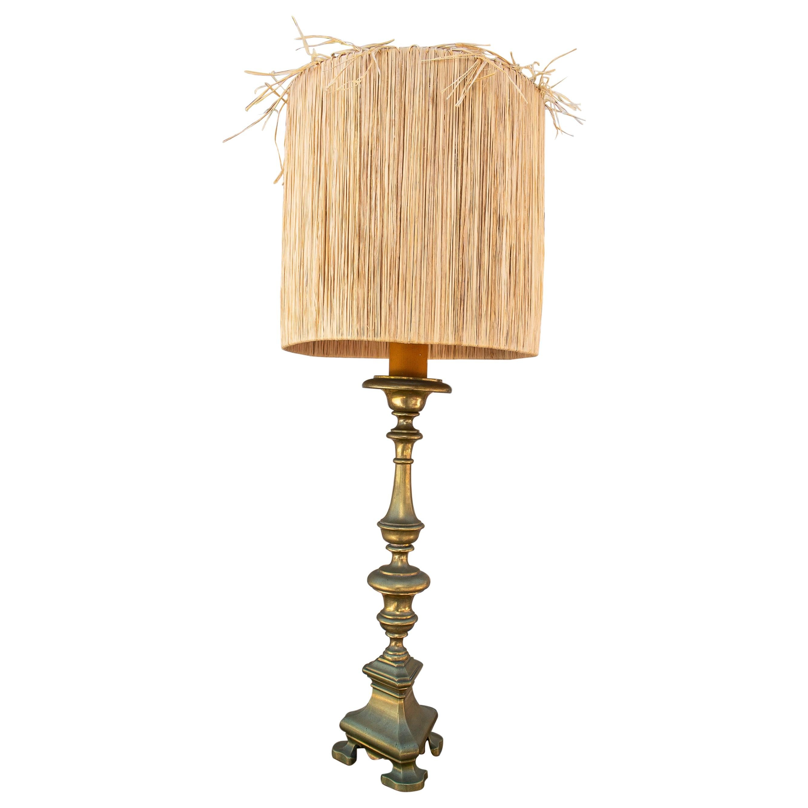 1920s Spanish Bronze Candlestick Turned Table Lamp
