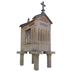 """1920s Spanish Galician """"Hórreo"""" Typical Stone Granary with Tiled Roof and Cross"""