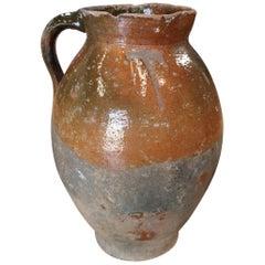 1920s Spanish Glazed Ceramic Wine Jar