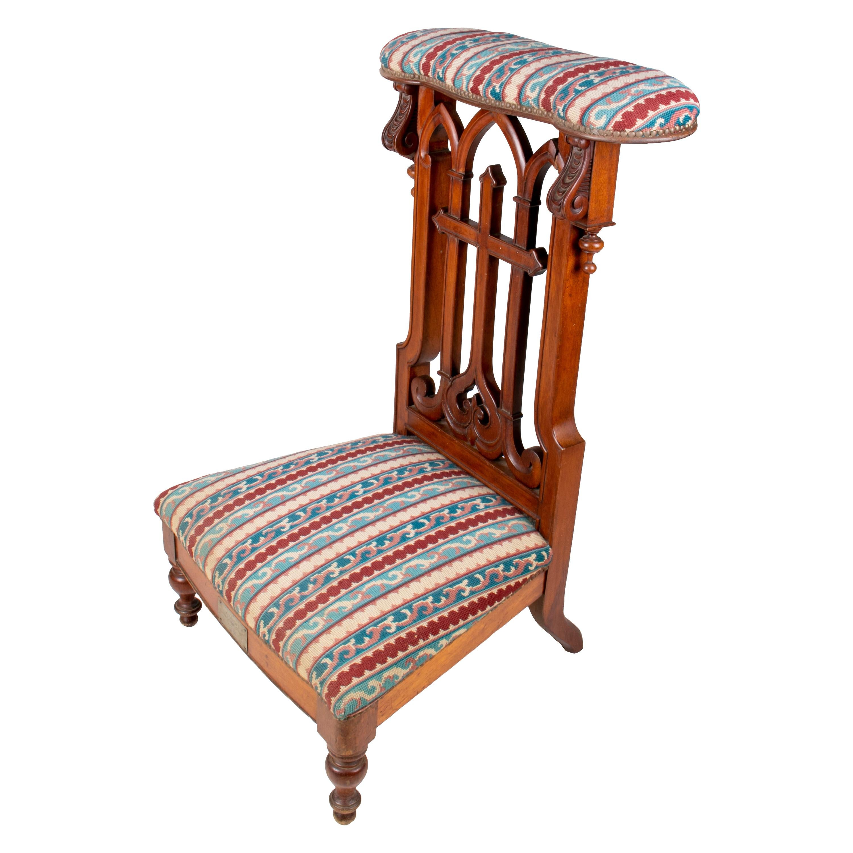 "1920s Spanish Hand Carved Ornate Walnut Wood ""Prie-dieu"" Prayer Stool"