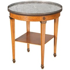 1920s Spanish Louis XVI-Style Bouillotte Table with Marble Top
