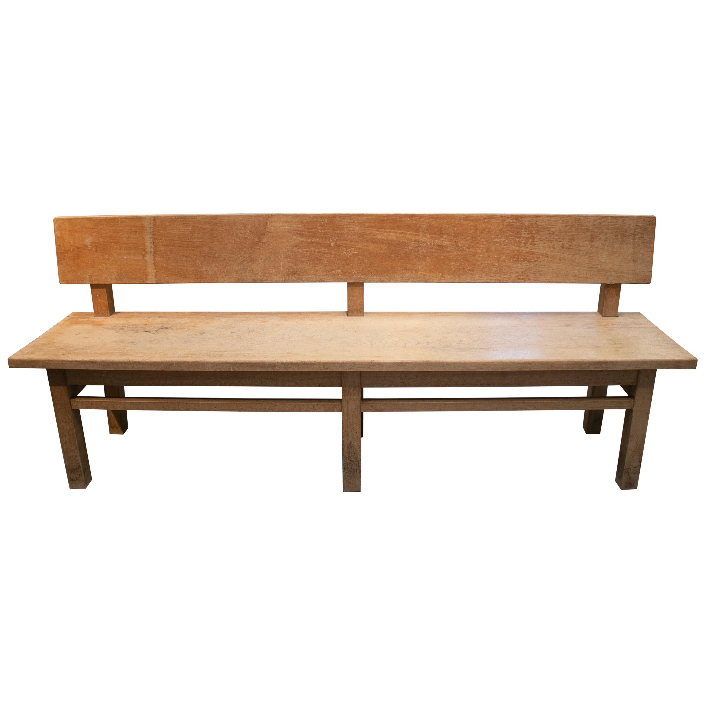 1920s Spanish Pine Wood Bench