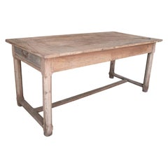 1920s Spanish Pine Wood Farmhouse Table w/ Drawers on Sides