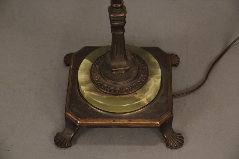 Spanish Colonial 1920s Spanish Revival Bridge Lamp with Mica Shade For Sale