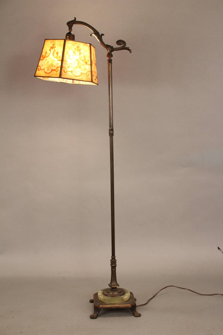 1920s Spanish Revival Bridge Lamp with Mica Shade In Good Condition For Sale In Pasadena, CA