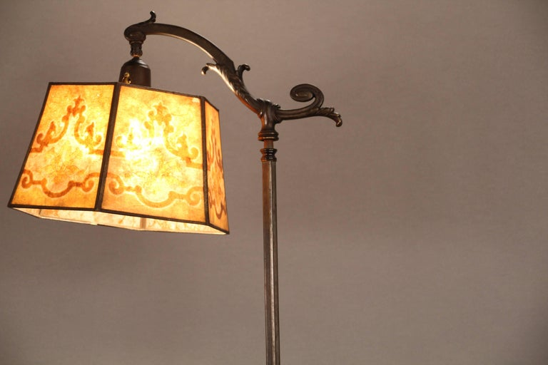 Early 20th Century 1920s Spanish Revival Bridge Lamp with Mica Shade For Sale