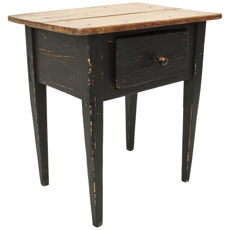 Rustic Kitchen Tables For Sale: 1920s Spanish Rustic Black Painted Pine Farm Kitchen Table
