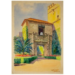 1920s Spanish Watercolor Drawing of the Royal Alcazar of Seville Palace Door
