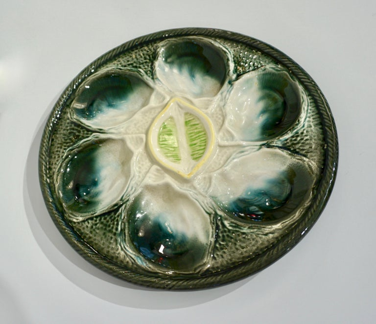 St Clement French Art Deco Majolica Set of 6 Oyster Plates and Serving Platter For Sale 6