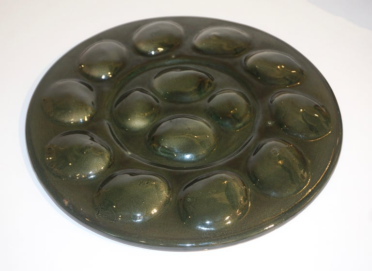 St Clement French Art Deco Majolica Set of 6 Oyster Plates and Serving Platter For Sale 8